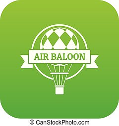 Fun air balloon icon green vector