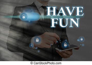 fun., amusement., 提供, 照片, 任务, 概念性, 有, 显示, 签署, 正文, 享乐, 本身