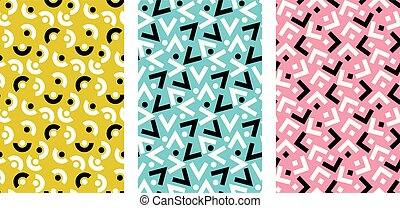fun and chaos geometric seamless pattern. dynamic repeatable motif for fabric, wrapping paper, background, web and print.