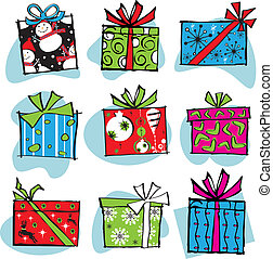 Fun and Funky Retro Christmas boxes isolated on white