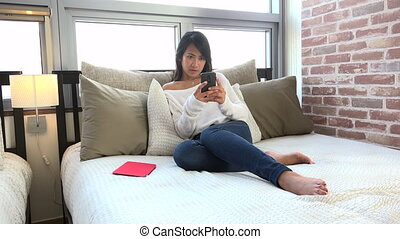 Fun And Relaxation For Happy Asian Woman Girl Texting Message.mov