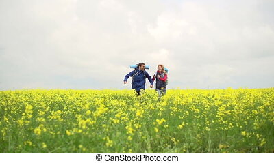 Fun and Run - Slow motion of heterosexual couple running in...