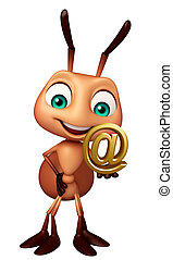 fun Ant cartoon character with at the rate sign - 3d ...