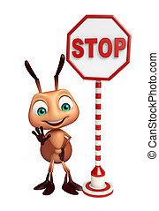 fun Ant cartoon character with stop sign - 3d rendered...