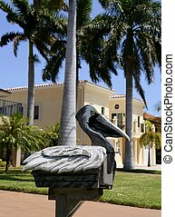 Fun artistic mail box with pelikan fish shape