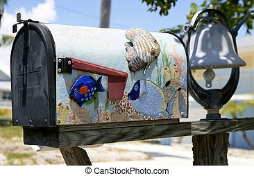 Fun artistic mail box with tropical fish decoration