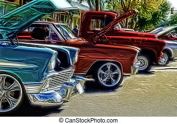Vintage automobiles on display