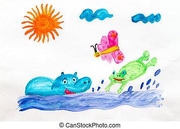 Fun bathing - Children drawing fun bathing Hippo and frog