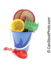 Fun Beach Toys - Colorful plastic fun beach toys on a white...