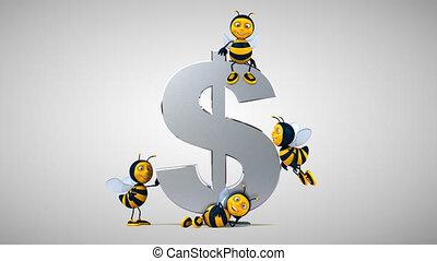 Fun bees next to a dollar