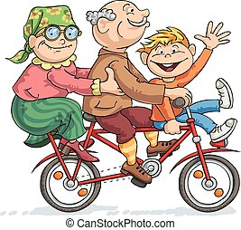 Grandfather, grandmother and their grandson rides on a red bike