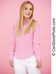 Fun Blond Woman in Pink