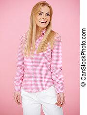 Fun Blond Woman in Pink