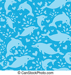 Fun blue dolphins seamless pattern background