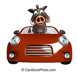 fun Boar cartoon character with car