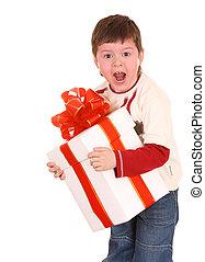 Fun boy with white gift box.