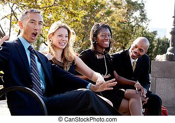 Fun Business Joke - A group of business people having fun ...