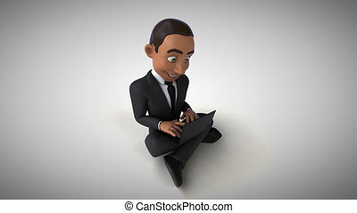 Fun businessman coding - 3D Animation
