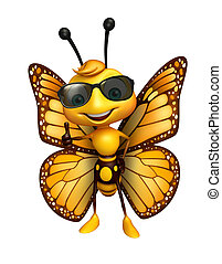 fun Butterfly cartoon character with sunglass - 3d rendered ...
