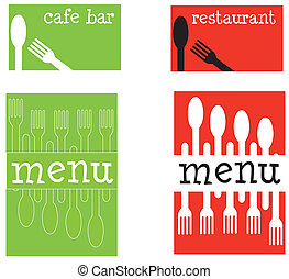 A set of fun cafe or restaurant covers featuring cutlery