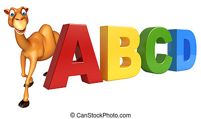 fun Camel cartoon character with ABCD sign