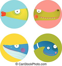 Fun Cartoon Animals Icons Collection for Kids Design