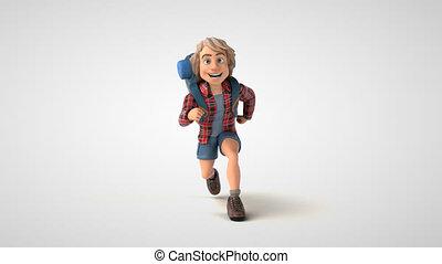 Fun cartoon backpacker