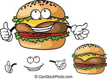 Fun cartoon cheeseburger