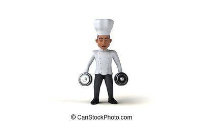 Fun cartoon chef with weights