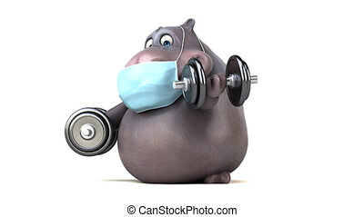 Fun cartoon hippo with a mask