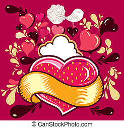 Fun cartoon illustrtion with heart for labels