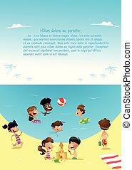 Fun cartoon kids playing at the sea