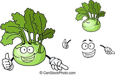 Fun cartoon kohlrabi vegetable