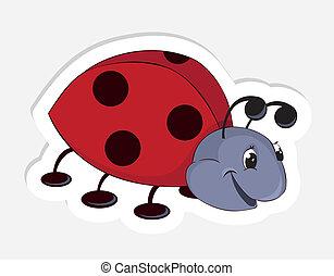 Fun cartoon ladybug. Vector Sticker