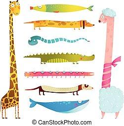 Fun Cartoon Long Animals Illustration Collection for Kids Design