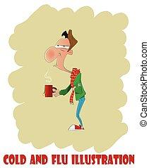 Fun cartoon man with cold or flu