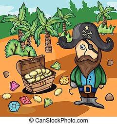 Fun cartoon pirate with treasure