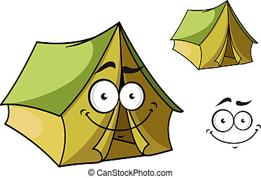 Fun cartoon tent with a happy smiling face and toothy grin isolated on white for tourism industry design
