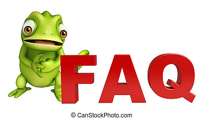 fun Chameleon cartoon character with FAQ sign