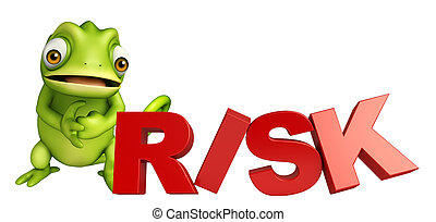 fun Chameleon cartoon character with risk sign