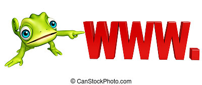 fun Chameleon cartoon character with www sign