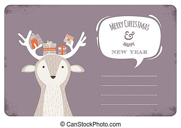 fun Christmas illustration of deer bearing gifts with bows ribbons and tags