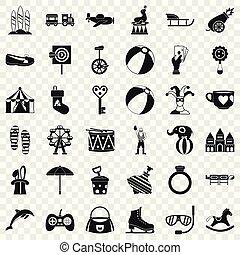 Fun circus icons set, simple style