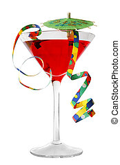Fun Cocktail - Bright cocktail with parasol and streamers...