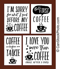 Fun Coffee Time Lettering Phrases Vector Set - I Love You...