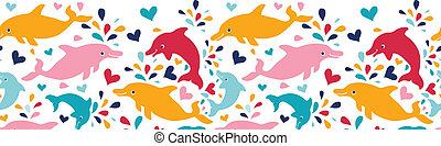 Fun colorful dolphins horizontal seamless pattern background