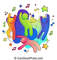 Fun colorful friends in music party concept