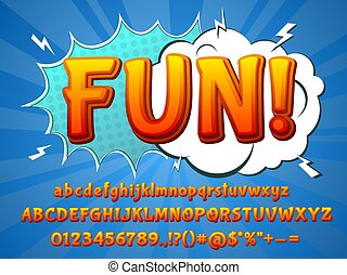 Fun comic font. Funny typeface, 3d colorful letters and cartoon explosion. Children typography alphabet recent numbers vector collection