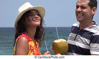 Fun Couple Dancing Together On Tropical Vacation