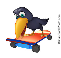 fun Crow cartoon character  with skateboard